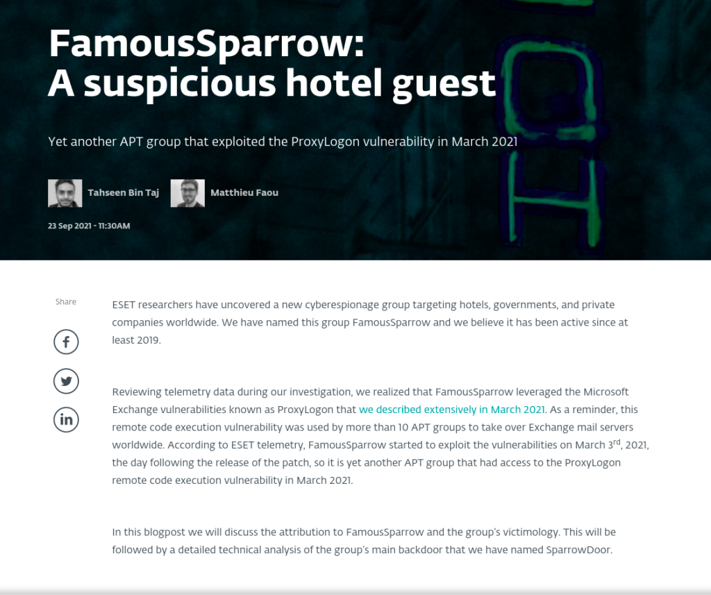 FamousSparrow - ESET